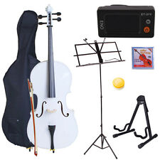 New Professional Full Size 4/4 Cello + Everything You Need to Start White