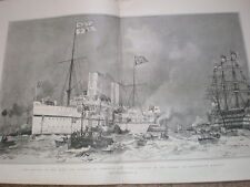 Arrival of HMS HMY Ophir at Portsmouth from Canada 1901 old print my ref T