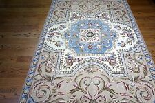 6x9 Fine Aubusson Needlepoint Pale Blue Lovely Area Rug Hand Woven Wool China