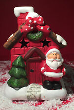 Large Ceramic Father Christmas Grotto House Tea Light Candle Holder 7920