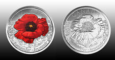 Canada 2015 25 cent SET Remembrance Day Poppy (2 coins) Color and Non Color