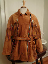 CACHE 100% suede leather fringed hippie coat silver tone conchos women's S/M USA