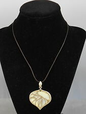 Fossil Brand Goldtone Openwork Natural Shell Underlay Brown Leather Necklace $26