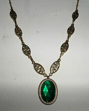 VICTORIAN STYLE EMERALD GREEN FACETED OVAL GOLD PLATED MARQUISE NECKLACE