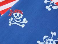 PIRATE JOLLY ROGER SKULL BLUE kids party fun POLYCOTTON FABRIC for craft bunting