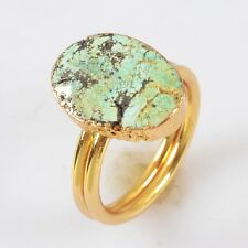 Size 7 100% Genuine Turquoise Ring Gold Plated B022967