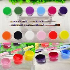 12 Acrylic Colours Paint & 2 Nail Art Brushes Set 3D Decoration DIY Tools