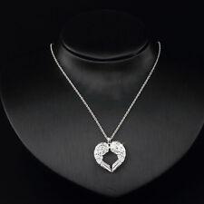 Mode pour femmes en argenté aile d'ange amour Collier pendentif argent coeur