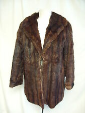 "Ladies Fur Coat brown red rabbit, bust 38-40"", length 29"", NOT PERFECT 7062"