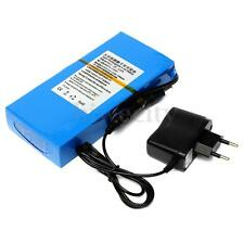 Blue Portable 12V 12000mAh Li-ion Super Rechargeable Battery w/ Plug for CCTV