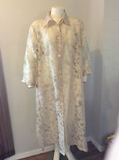 SUKI.K Ivory Long Duster Coat Sheer Burnout Floral GORGEOUS Plus Size 1