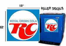 "12"" BLUE RC ROYAL CROWN COLA DECAL COOLERS SODA POP MACHINE"