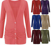 Womens  Button Up Boyfriend Cardigan Top Ladies Long Sleeve Pocket Cardi 16/24