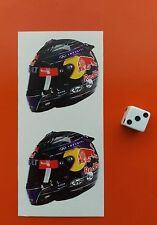 x2 Sebastian Vettel  Helmet F1 Stickers Red Bull F1 50mm x 50mm