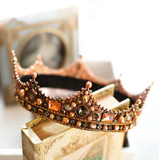 Vintage Wedding Bridal Queen Crown Black Gold Tiara Bead Hair Accessories Piece