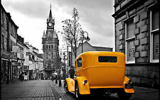 Framed Print - Black & White City View with Yellow Taxi Cab (Picture Poster Art)