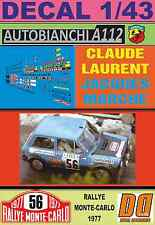 DECAL 1/43 AUTOBIANCHI A112 ABARTH CLAUDE LAURENT RALLY MONTECARLO 1977 (02)