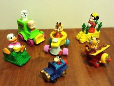 Vintage Mixed Lot of 6 Disney Toy Figurines in Vehicles EUC