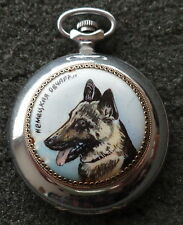 HANDPAINTED RUSSIAN POCKET WATCH    german  shepherd just one on internet