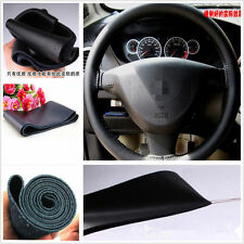 Black Genuine Leather Steering Wheel Cover Sweat Non-Slip Needle Cord For Toyota