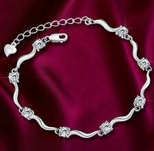 *UK* ladies lovely 925 Silver crystal bracelet Charm Crystal Bamboo Chain GIFT