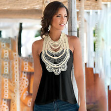 Womens Sleeveless Halter Neck Backles Lace Vest Tank Tops Summer T Shirt Blouse
