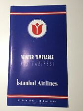 ISTANBUL AIRLINES TIMETABLE WINTER 1997/98 TURKEY SEAT MAPS