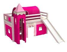 Lit enfant lit mezzanine toboggan+tour+tunnel+poches+matelas+rideau ,blanc