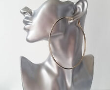 Gorgeous HUGE GOLD TONE thin square tube BIG glitter edge hoop earrings