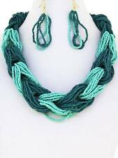 MULTI STRAND TURQUOISE MINT GLASS SEED BEAD HOOKED TOGETHER NECKLACE EARRING