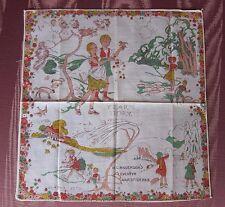 RARE 1920's Gladys Peto Child's Hankie Hanky Handkerchief~THE YEAR'S STORY~MINT