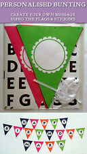 PERSONALISE YOUR BUNTING 24 Flags 4.8m White Ribbon 120 Letter Stickers MYO TEXT