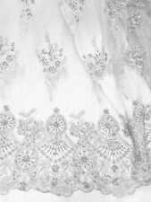 "WHITE MESH W/ EMBROIDERY BEADS & SEQUINS BRIDAL LACE FABRIC 52"" WIDE 1 YARD"