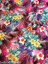 B028 - Soft Touch POLYESTER Multi Jungle Lilly Leaf Dress Jersey Stretch Fabric
