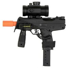 DOUBLE EAGLE UZI AIRSOFT SPRING SMG PISTOL GUN w/ BB LASER SIGHT RED DOT SCOPE