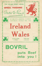 WALES v IRELAND 1934 RUGBY PROGRAMME, 10 Mar, St Helens, Swansea