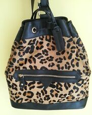 Aqua Madonna Womens Brown Leather CowHide Leopard Backpack Shoulder Bag Purse