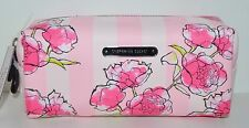 NEW VICTORIA'S SECRET PINK STRIPE FLORAL MAKEUP BAG COSMETIC POUCH CASE SMALL
