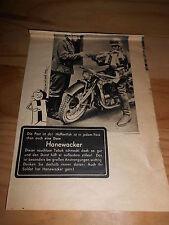 original Werbung Reklame Annonce Tabak Hanewacker Krad Soldat ca. 40er Jahre