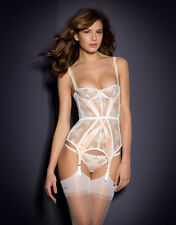 Agent Provocateur MADDY BASQUE in WHITE LACE & PINK SATIN - 32B - BNWT