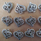 20pc Hollow out Tibetan Silver Heart-shaped Dangle Charm Beads Jewelry GP027