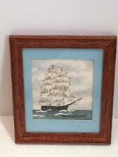 Vintage 1978 Dollhouse Miniature Clipper Ship Painting Artisan Judy Beckmutth
