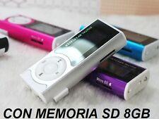 MP3 PLAYER DISPLAY LCD + AURICOLARI + RADIO FM ALTOPARLANTE CON MEMORIA SD 8GB