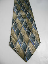 Croft and Barrow Brown and Blue Geometric Print Silk Necktie