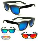 Polarised Wayfarer Sunglasses - Blue Mirror Lens / Matte Black Frame -Ex Quality