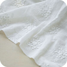"""White 100% Cotton Fabric Flower Embroidery DIY Cloth Dress Skirt 51"""" wide 1 yard"""