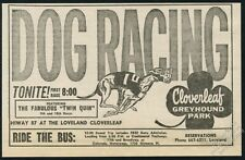 1962 Greyhound racing dog art Cloverleaf Park Loveland Colorado vintage print ad
