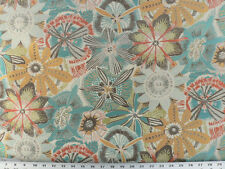 Drapery Upholstery Fabric 10K DRubs Jacquard Retro Floral - Turquoise / Coral