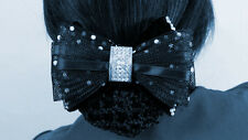 Black Net Bow Ribbon Crochet Bun Net Holder Snood Diamante on a Hair Clip Dance