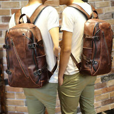 Vintage Brown Men's Leather Backpack bags shoulder Briefcase rucksack laptop bag